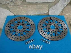 11.8 Satin Mesh Front Brake Rotor Pair For Harley Flt Bagger With Free Bolts