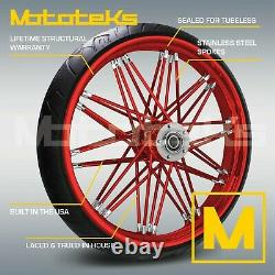 21X3.5 FAT SPOKE NOVA WHEEL CANDY RED FOR HARLEY TOURING BAGGER With TIRE MOUNTED