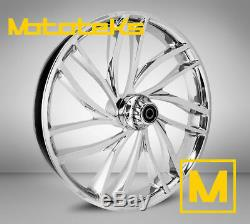 21X3.5 RISE WHEEL CHROME FOR HARLEY TOURING BAGGER 00-UP With TIRE & ROTORS