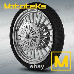 21 FAT MAG WHEEL FOR HARLEY TOURING BAGGER With ROTORS BLACK WALL TIRE M&B NEW