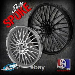 21 Inch Dirty Spoke Dual Disc Set up Motorcycle Wheels Harley Bagger Touring