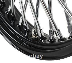 21 x 3.5 46 Fat King Spoke Front Wheel Black Rim Dual Disc Harley Touring Bagger