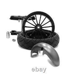21 x 5.5 Talon Wheel & 180 Fat Tire Kit Black 2000-20 Harley Touring Bagger
