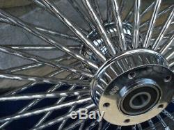 21x3.5 Dna Diamond Mammoth 52 Fat Spoke 2000-07 Front Wheel For Harley Bagger