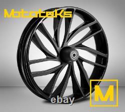 23 23x3.75 Rise Aluminum Black Wheel For Harley Touring Bagger Models New