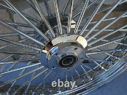 23 X 3.5 Chrome 48 Fat King Spoke Front Wheel 00-07 Harley Touring Bagger