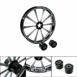 23 x 3.5 CNC BLK Front Wheel Rim Dual Disc For Bagger Harley Touring 2008-2020