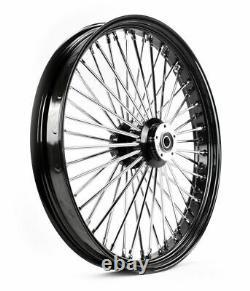 26 x 3.5 48 Fat King Spoke Front Wheel Black Rim Dual Disc Harley Touring Bagger