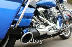 2 Into 1 Performance Pipe Oval Side Dump Pipes Harley Touring Bagger, Flt 96-16
