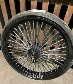 3.5 x 26 Fat Spoke Big Wheel Bagger Softail Chopper W tire Harley Custom Black