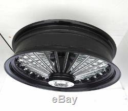 Black 16 X 3.5 48 Fat King Spoke Rear Wheel Rim Harley Touring Softail Bagger