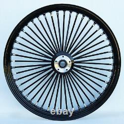 Black 48 King Spoke 26 x 3.5 Single Disc Front Wheel for Harley Custom Bagger