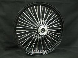 Black/Chrome 48 Spoke 21 x 2.15 Dual Disc Front Wheel Harley Bagger Custom