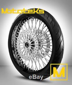 Black Fat Spoke Wheel 21x3.5 Harley Touring Bagger Rotors Tire Mounted Balanced