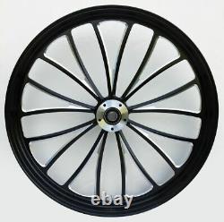 Black Manhattan 23 x 3.5 Billet Front Wheel Rim Harley Touring Dual Disc Bagger