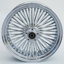 Chrome 48 King Spoke 16 x 3.5 Front Dual Disc Wheel for Harley Bagger Custom