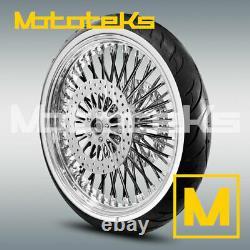 Fat Spoke Wheel 23x3.5 Black Spokes Harley Touring Bagger Rotors Tire Mounted