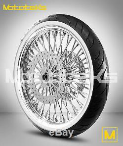 Fat Spoke Wheel 23x3.5 For Harley Touring Bagger Rotors White Wall Tire Mounted