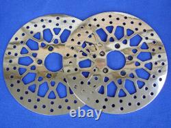 For Harley Touring Bagger Dna Mesh Spoke Front Brake Rotor Pair Parts