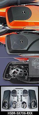 J&M Rokker XX 5x7 Rear Speakers Saddlebag Speaker Kit Lids Harley Touring Bagger