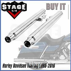New Chrome Slip-On Mufflers Exhaust 2.5 For 95-16 Harley Touring Dresser Bagger
